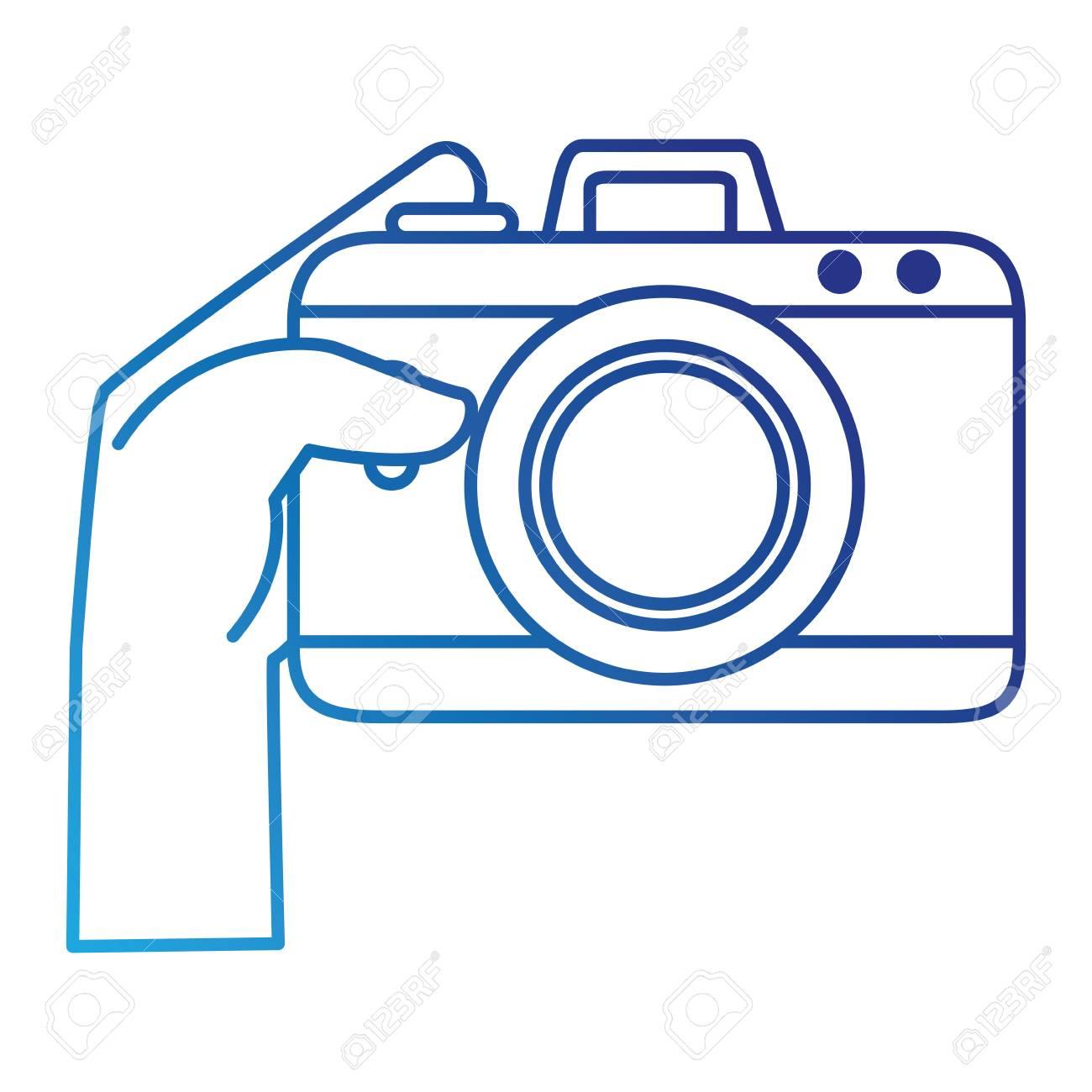 カメラ写真分離アイコン イラスト デザインを持つ手ユーザー