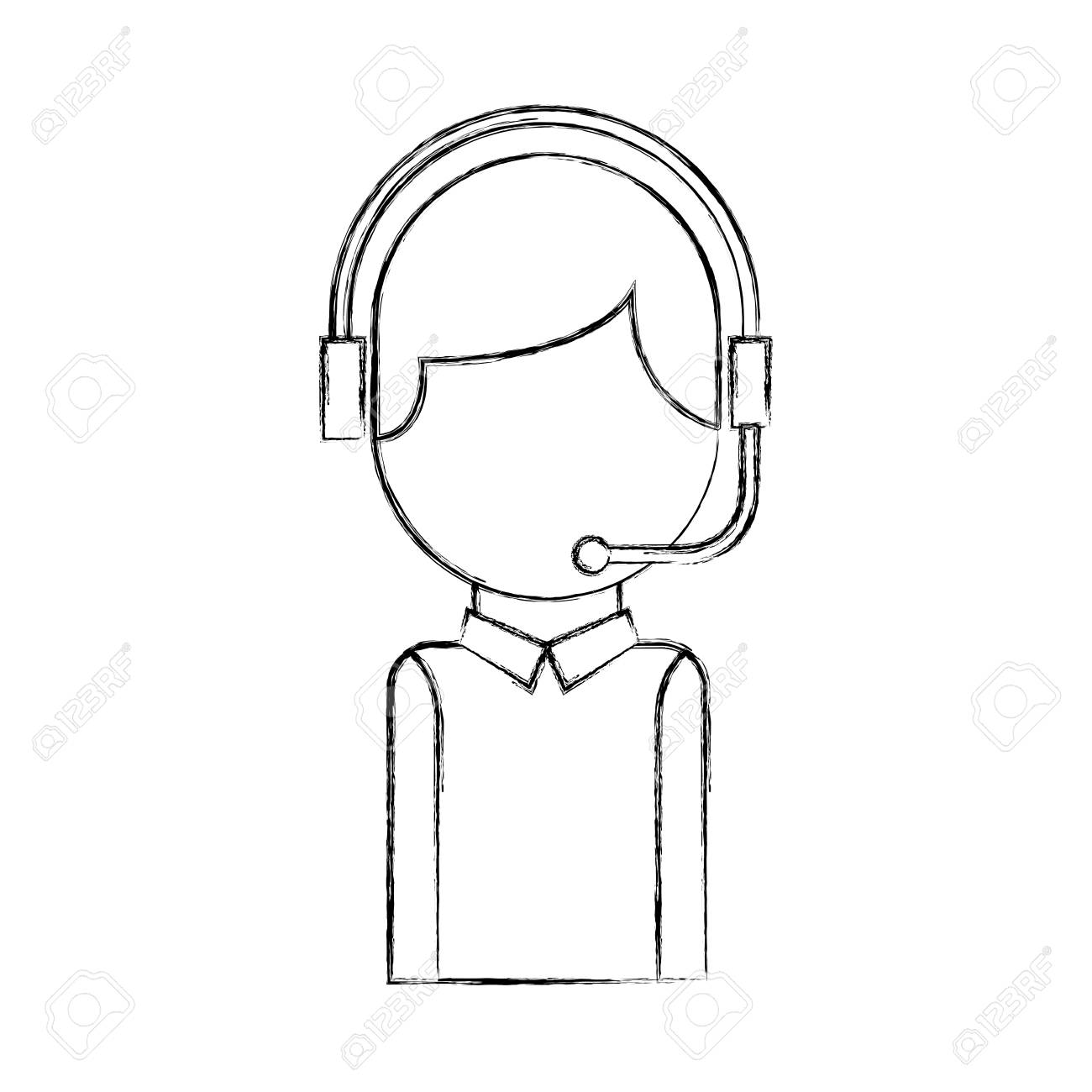 Call Center Operator With Phone Headset Vector Illustration Royalty Free Cliparts Vectors And Stock Illustration Image 86641194
