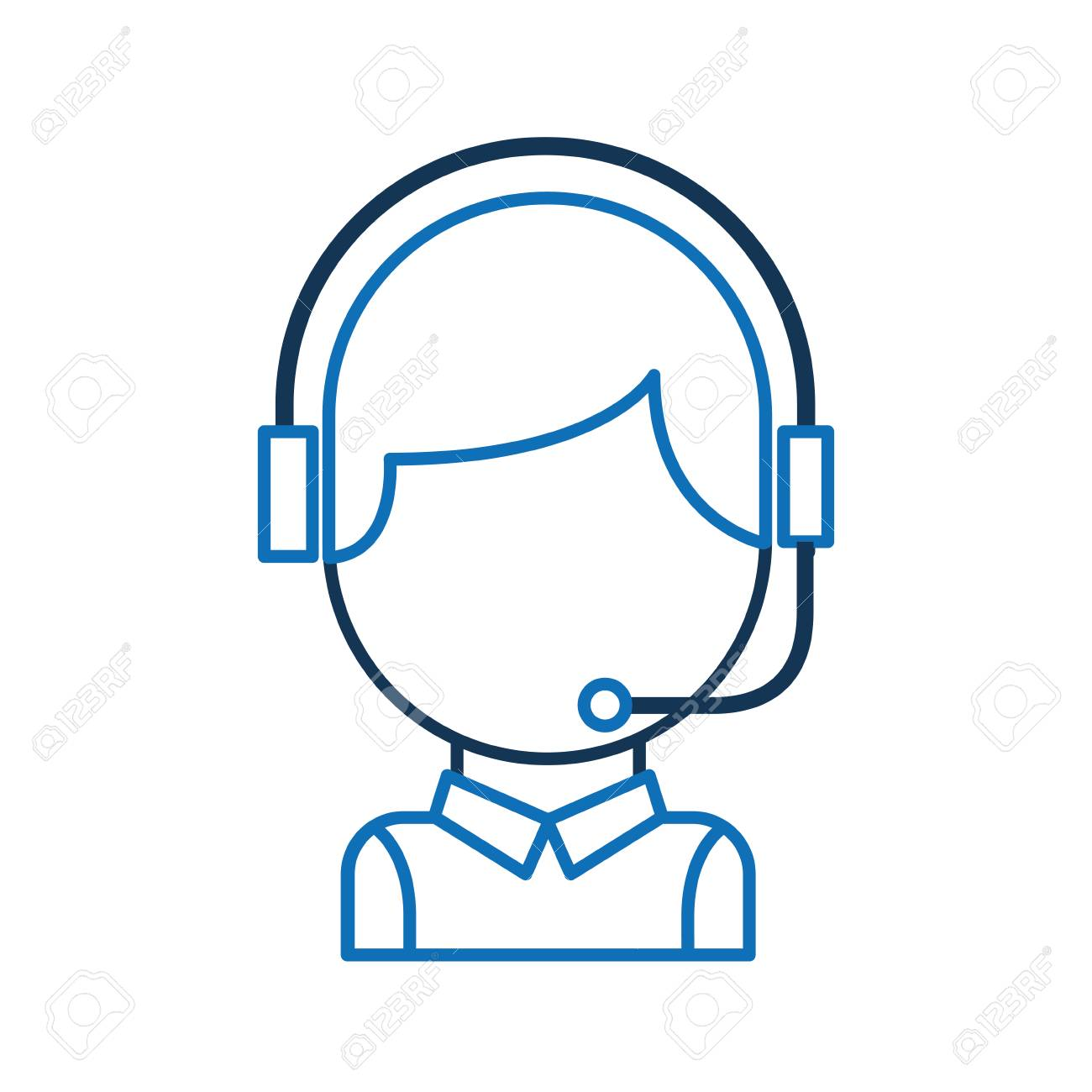 Call Center Operator With Phone Headset Vector Illustration Royalty Free Cliparts Vectors And Stock Illustration Image 86641705