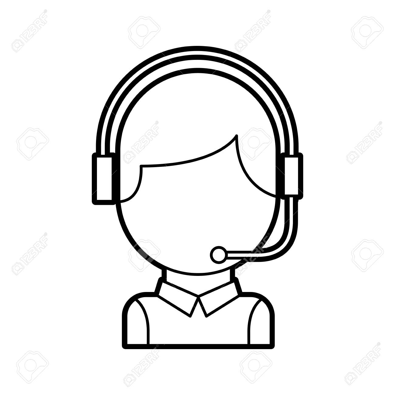 Call Center Operator With Phone Headset Vector Illustration Royalty Free Cliparts Vectors And Stock Illustration Image 86641895