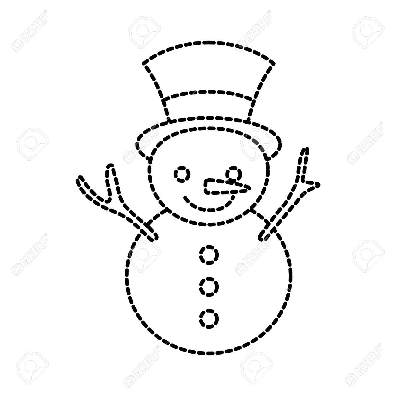 Noël Bonhomme De Neige Dessin Animé Sourire Caractère Hiver Vector