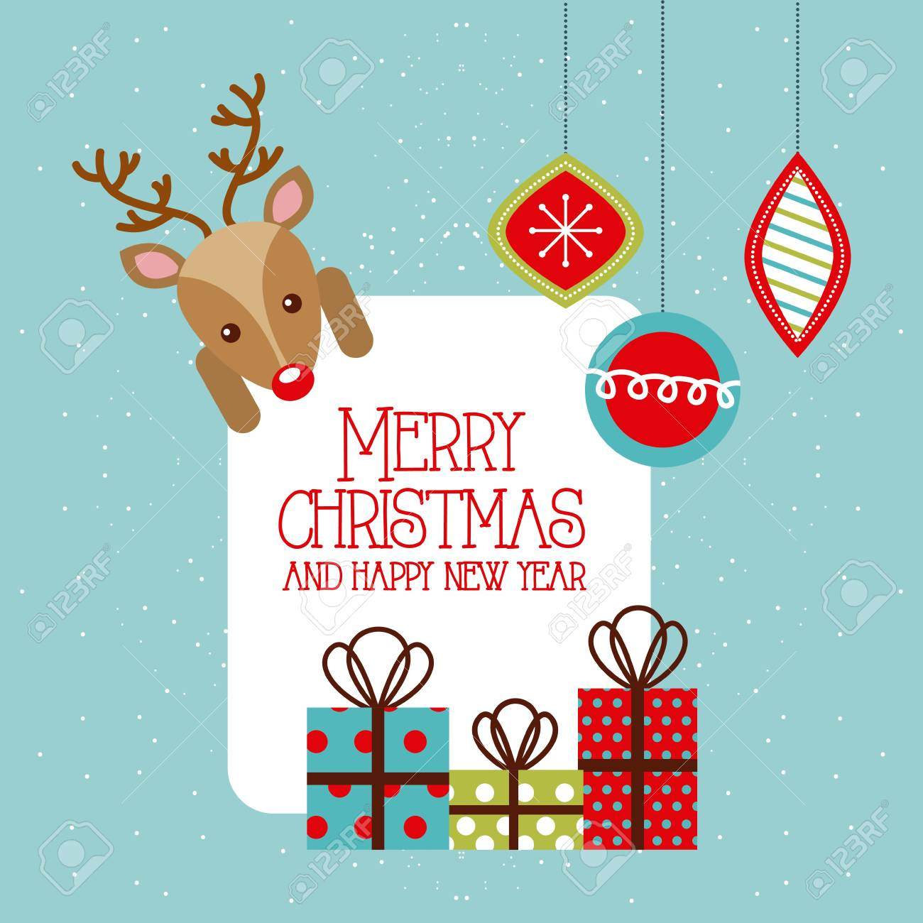 merry christmas and happy new year deer gifts hanging balls vector illustration - 86857247