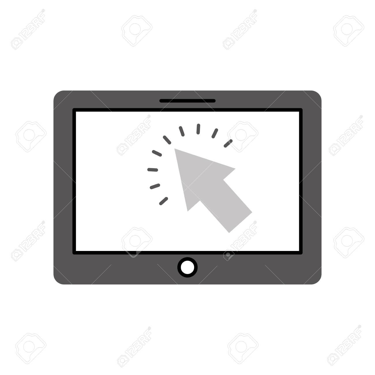tablet with cursor button digital technology vector illustration - 87257703