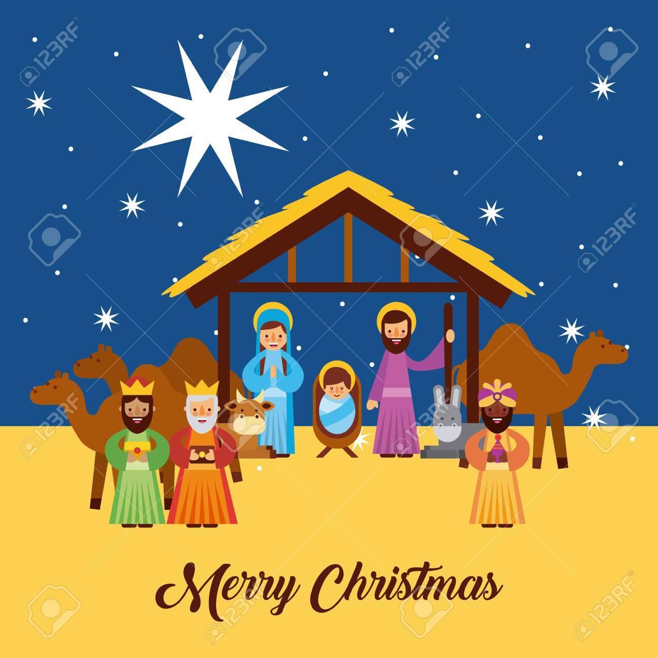 Fotos De El Pesebre De Jesus.Feliz Navidad Saludos Con Jesus Nacido En El Pesebre Jose Y Maria Reyes Reyes Personajes Vector Illustration