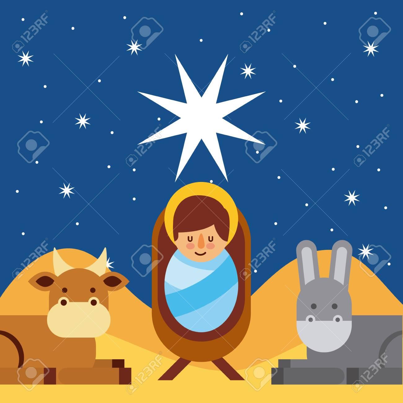 Buon Santo Natale.Illustrazione Di Vettore Benedetto Santo Di Gesu Di Buon Natale Cristo