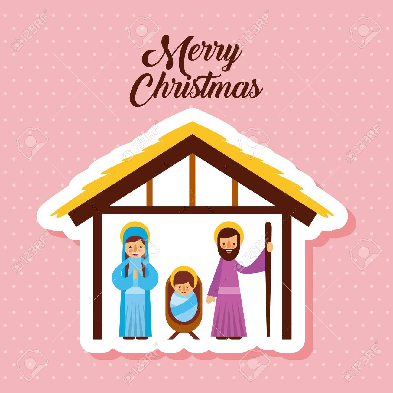Religious Christmas Music Clipart.Merry Christmas Holy Family Traditional Religious Scene Of The