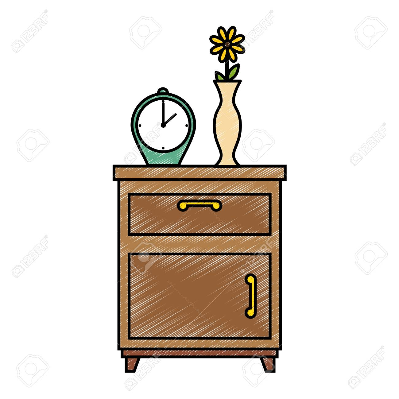 nightstand bedroom with alarm clock vector illustration design