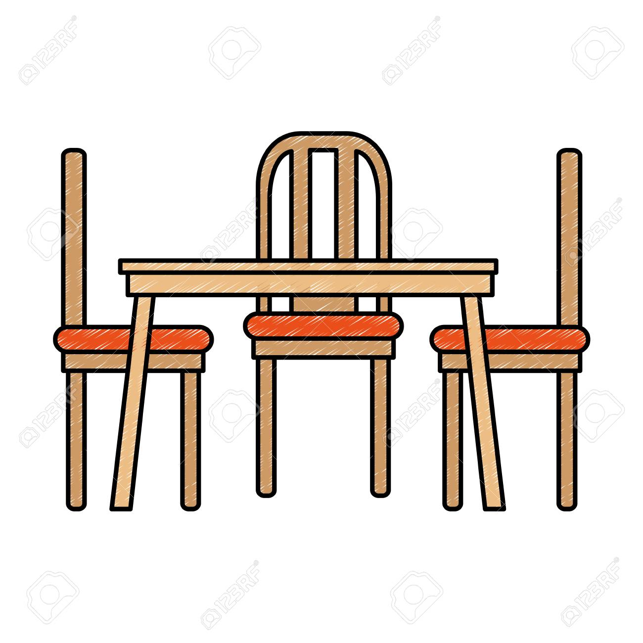 Dining Table And Chairs Vector Illustration Design Stock