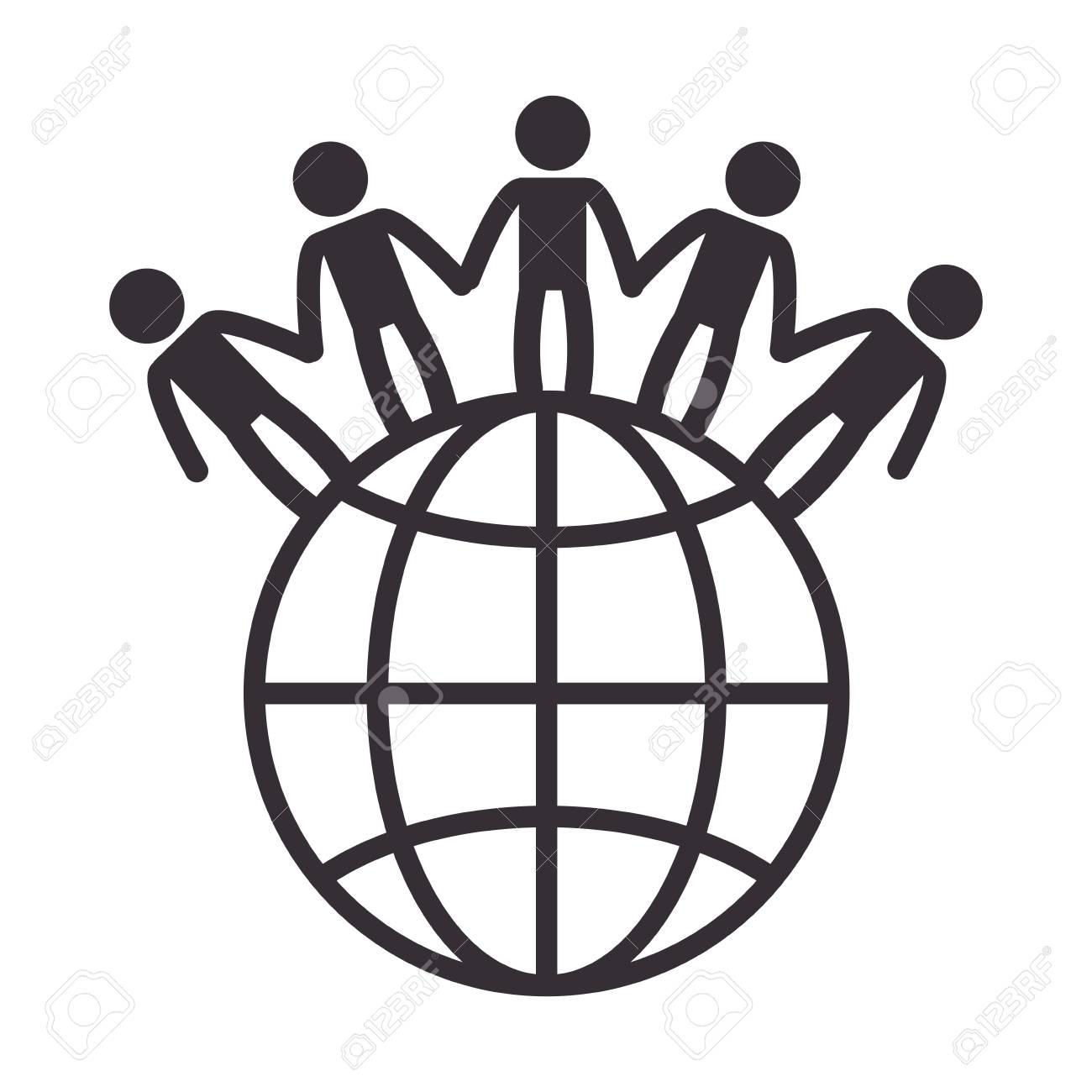 世界の人々 と惑星ベクター イラスト デザイン