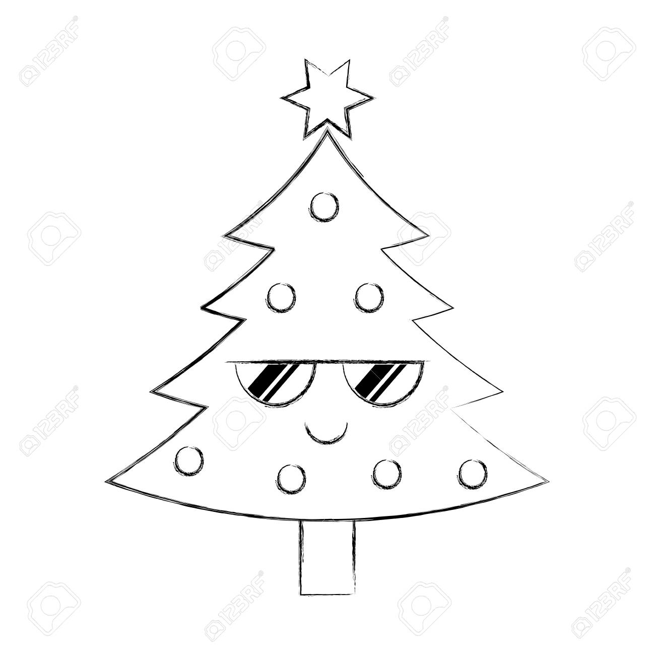 Kawaii Christmas Tree Pine Decoration Celebration Party Vector ...