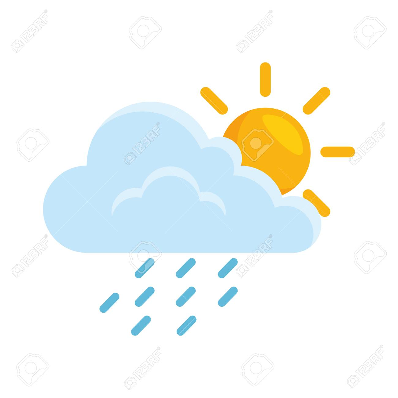 cloud weather with sun and rain vector illustration design - 87691907