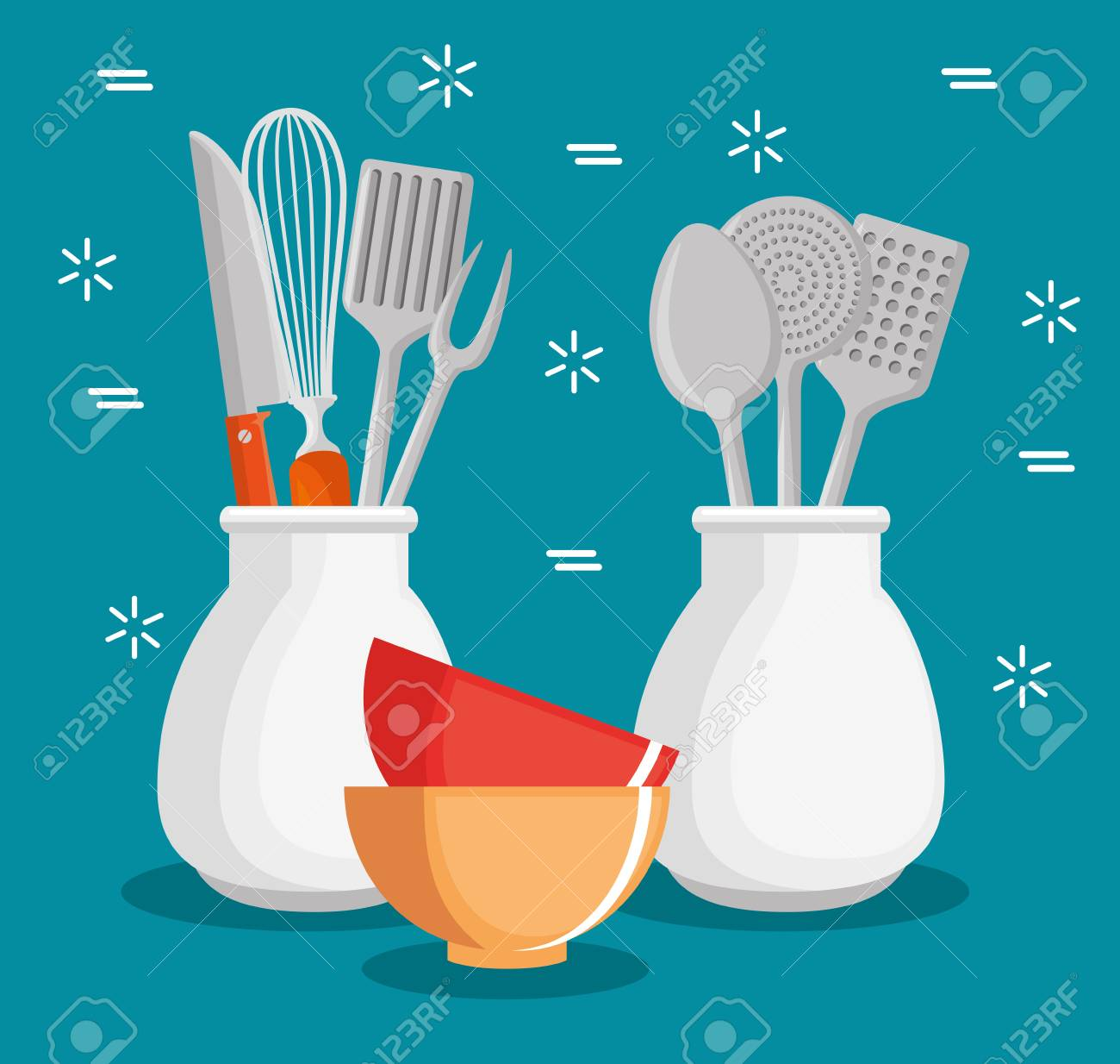 Colorful Kitchen Utensils. Kitchen Colorful Utensils Appealing ...