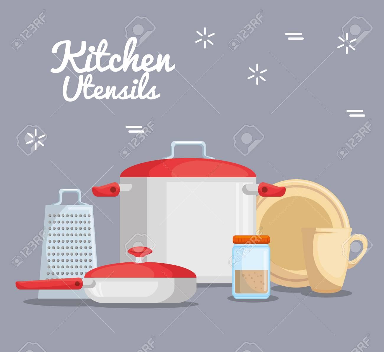 Utensilios de cocina de colores ilustración vectorial diseño gráfico