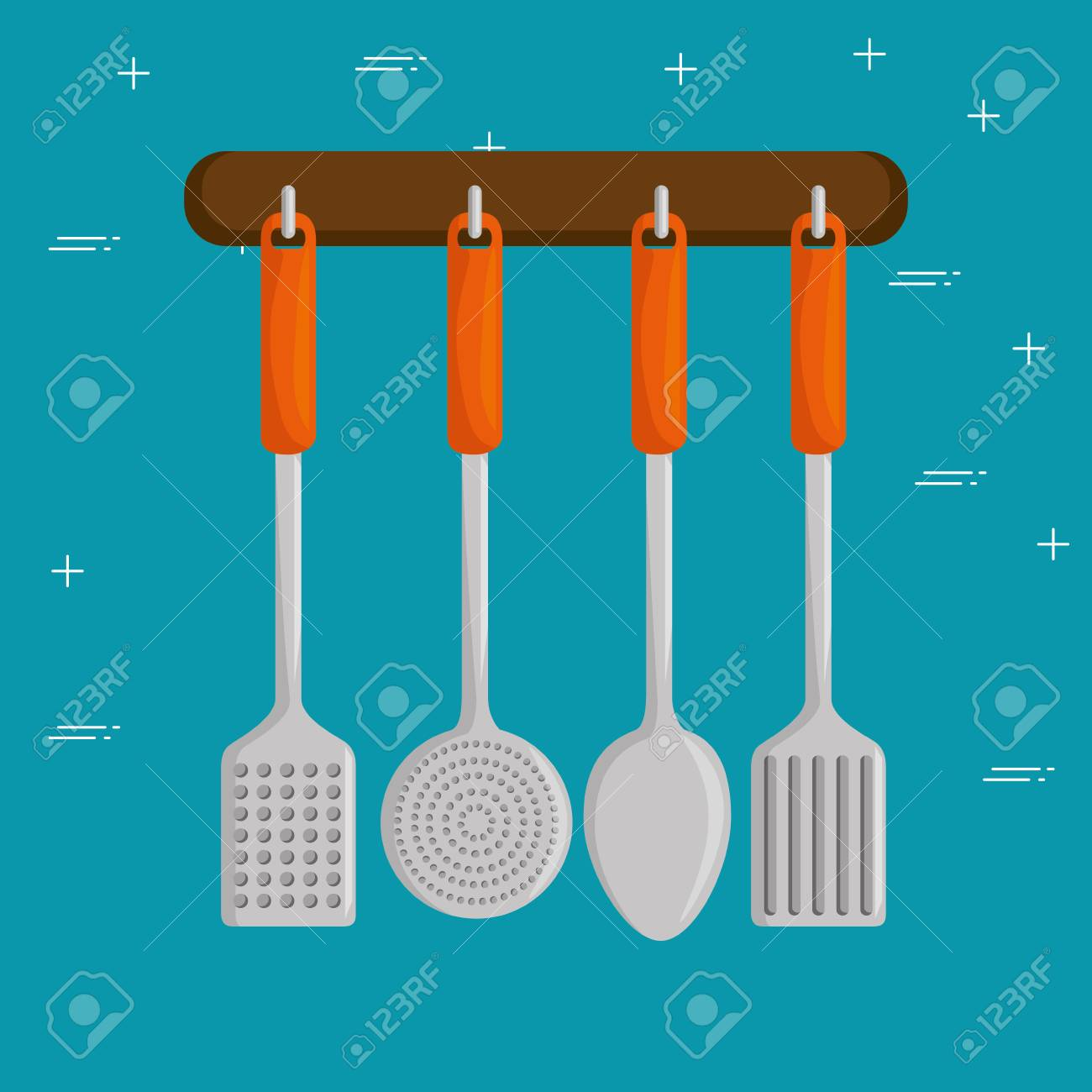 colorful kitchen utensils. Colorful Kitchen Utensils Vector Illustration Graphic Design Stock - 87710668 I