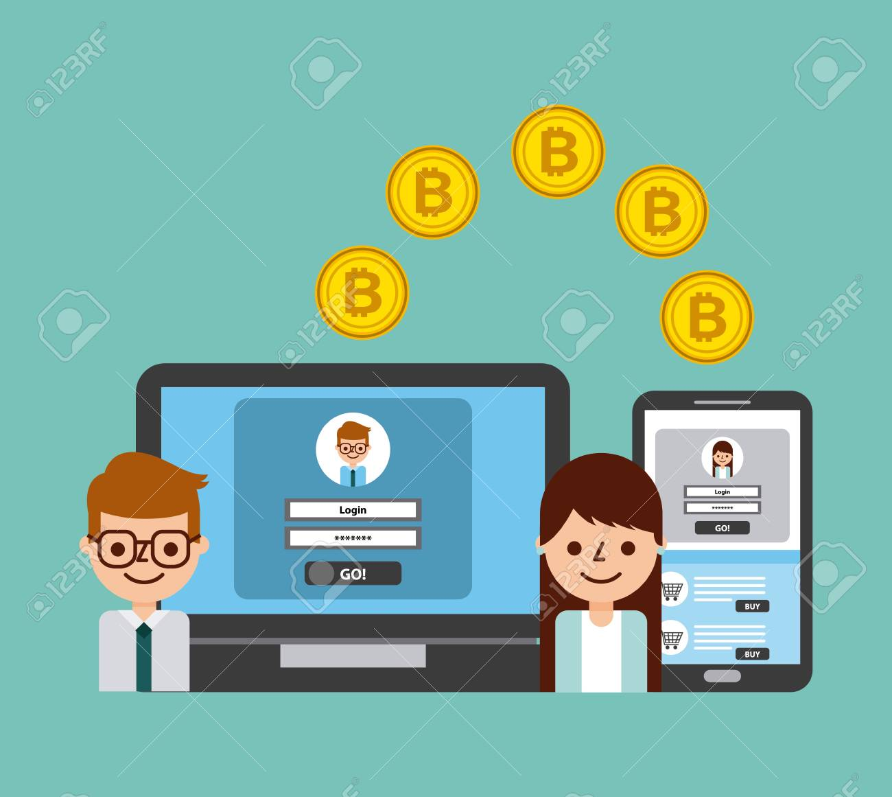 People Transfer Bitcoin Digital Online Banking Secure Vector -