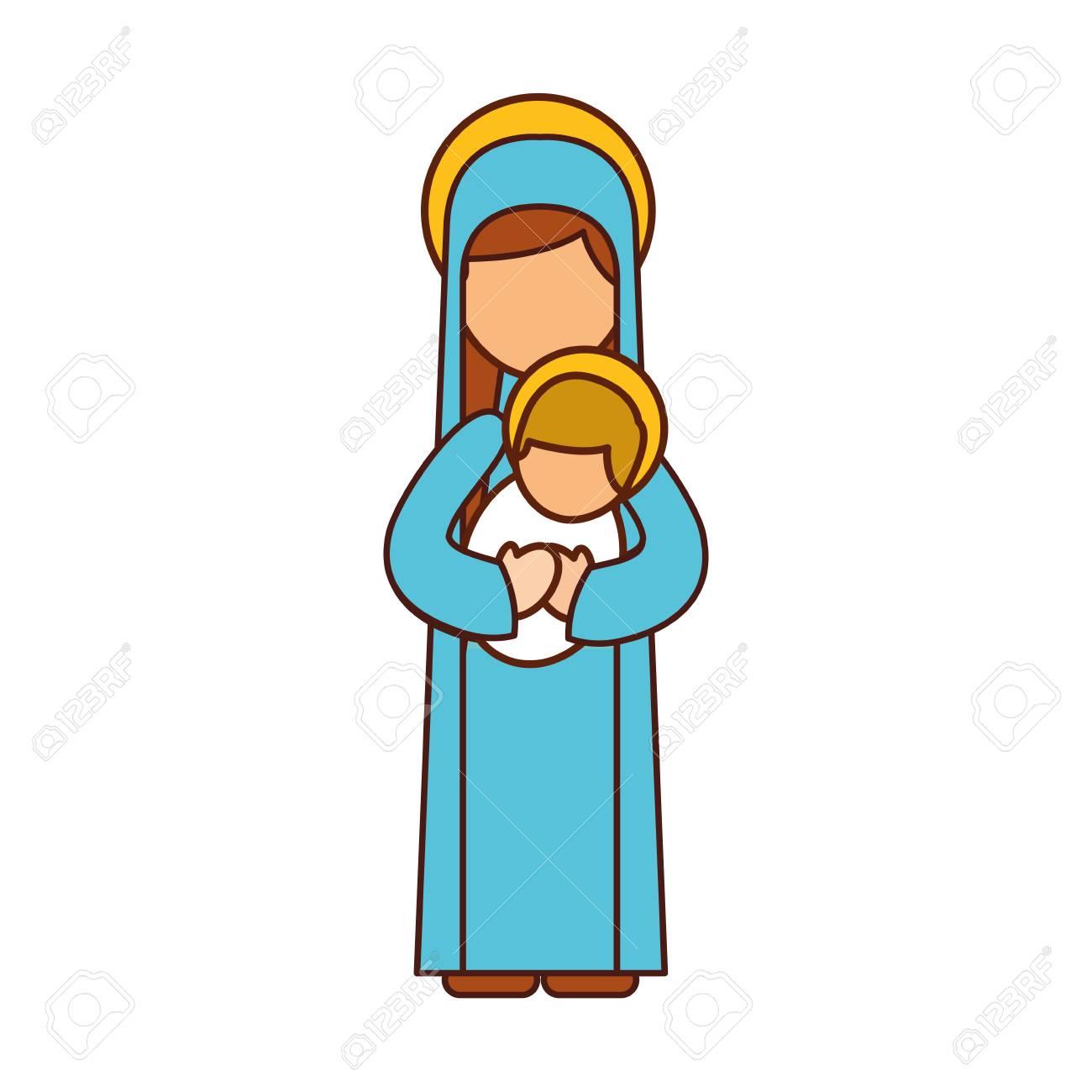 聖母マリア保持赤ちゃんイエス キリスト教とクリスマス ベクトル