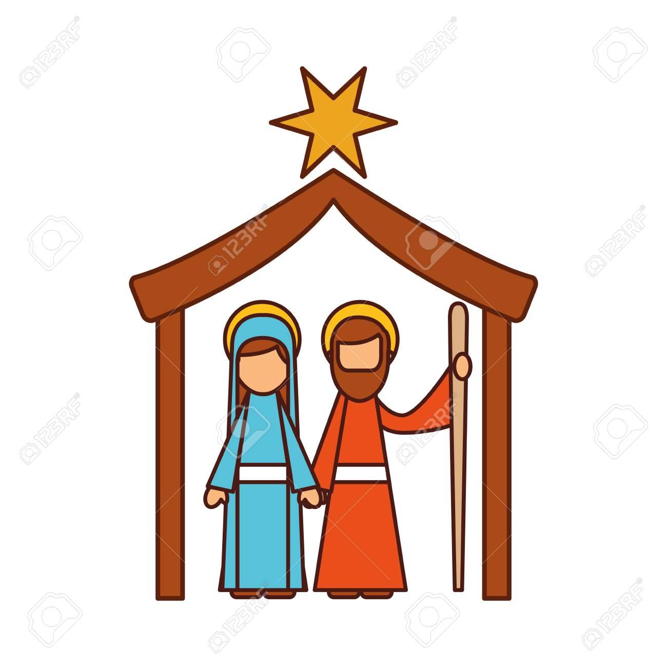 Traditional Family Christmas Manger Scene Virgin Mary And Saint ...
