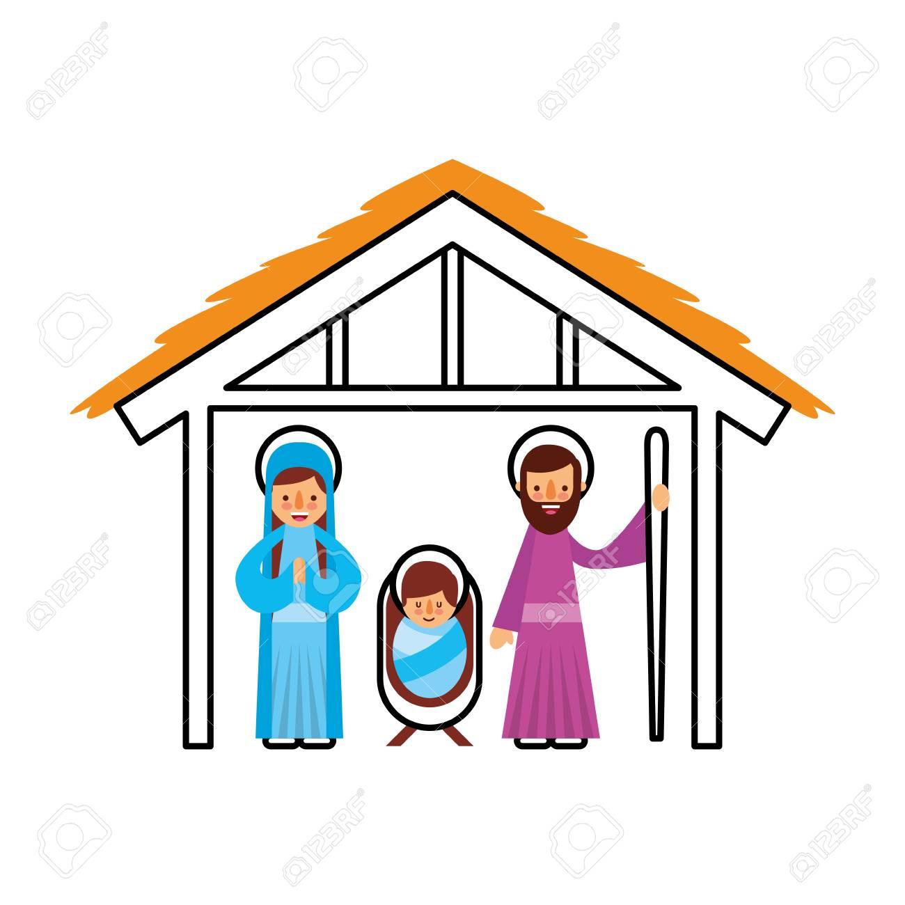 Traditional Family Christmas Manger Scene Baby Jesus Virgin Mary ...