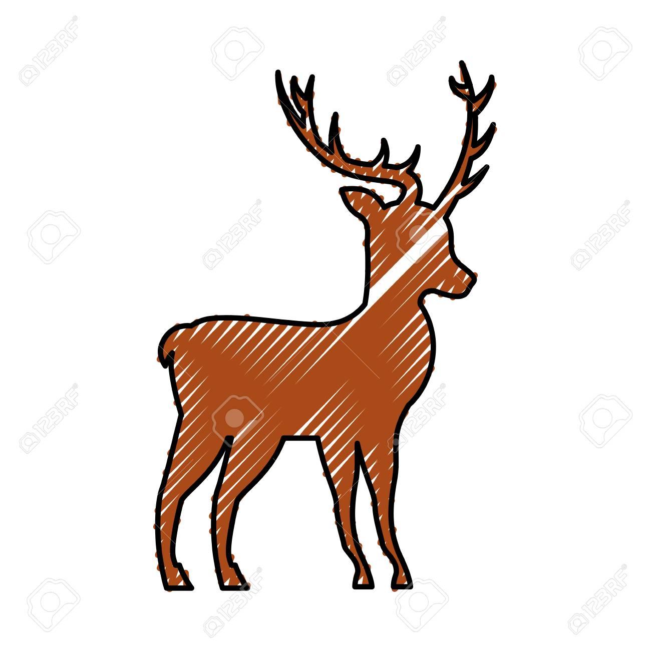 Christmas Reindeer Head Horned Animal Decoration Vector Illustration Stock