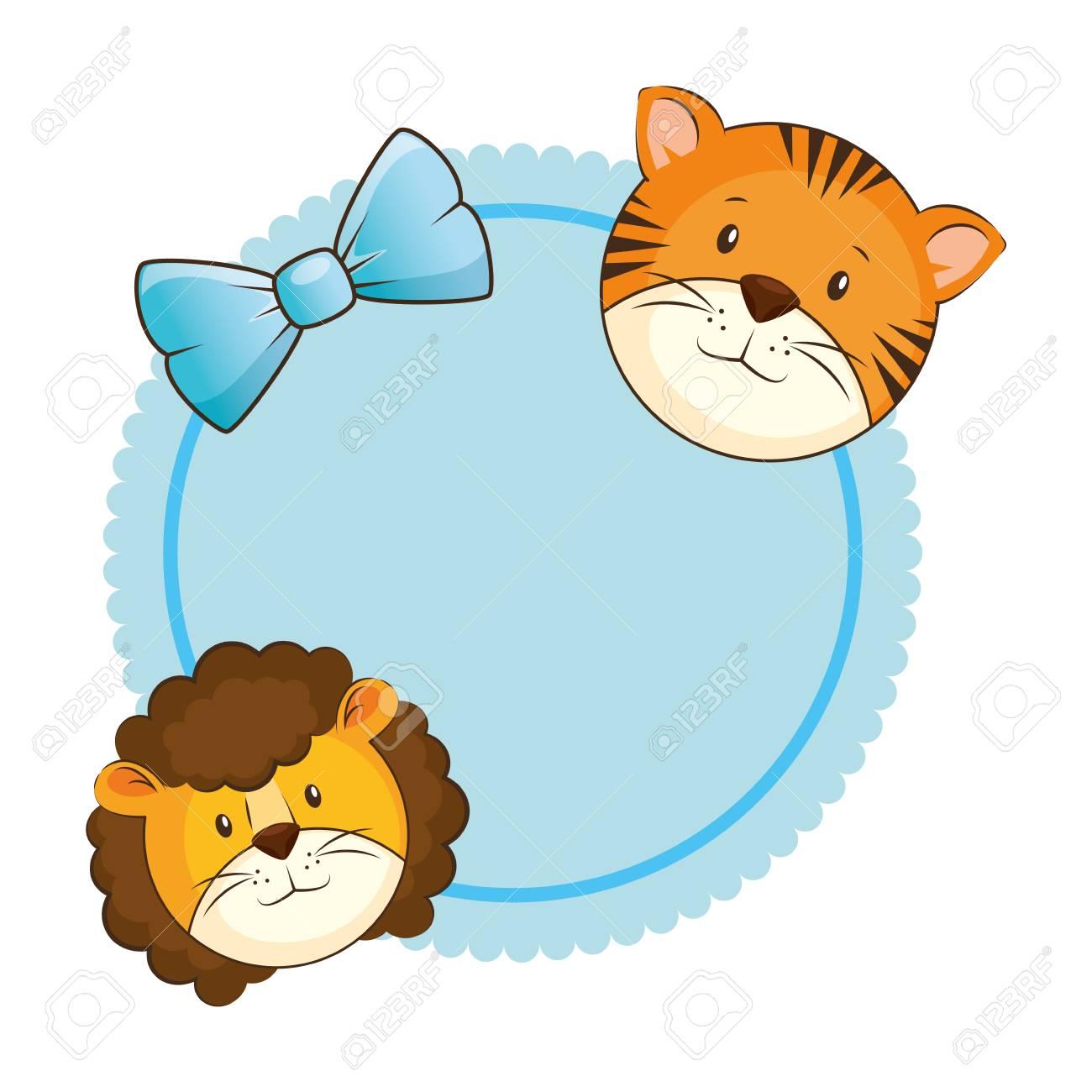 虎カード ベクトル イラスト デザインでかわいいライオンのイラスト素材