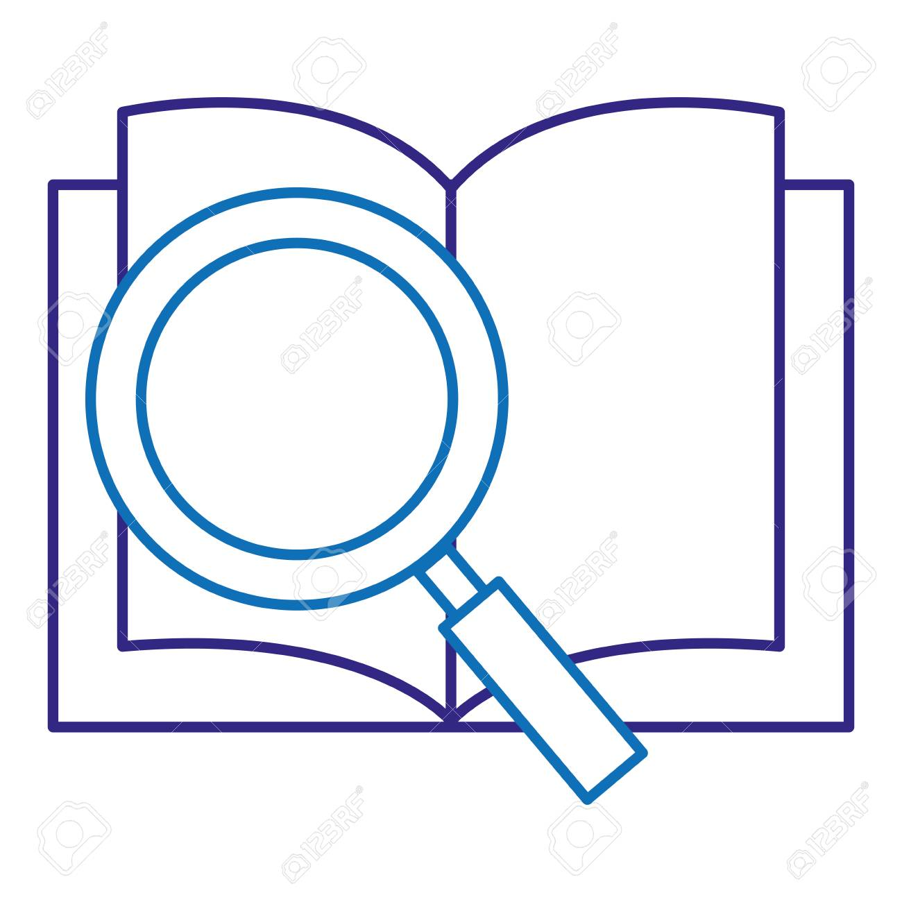 text book school with magnifying glass vector illustration design - 88232735