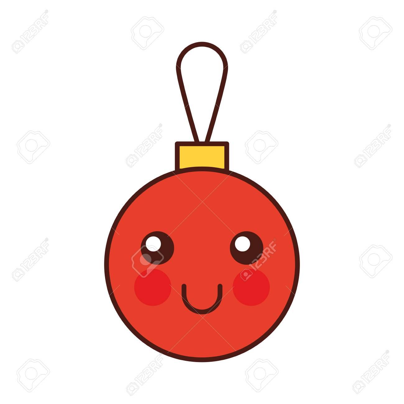 Kawaii Christmas Ball Decoration Cartoon Vector Illustration Royalty ...