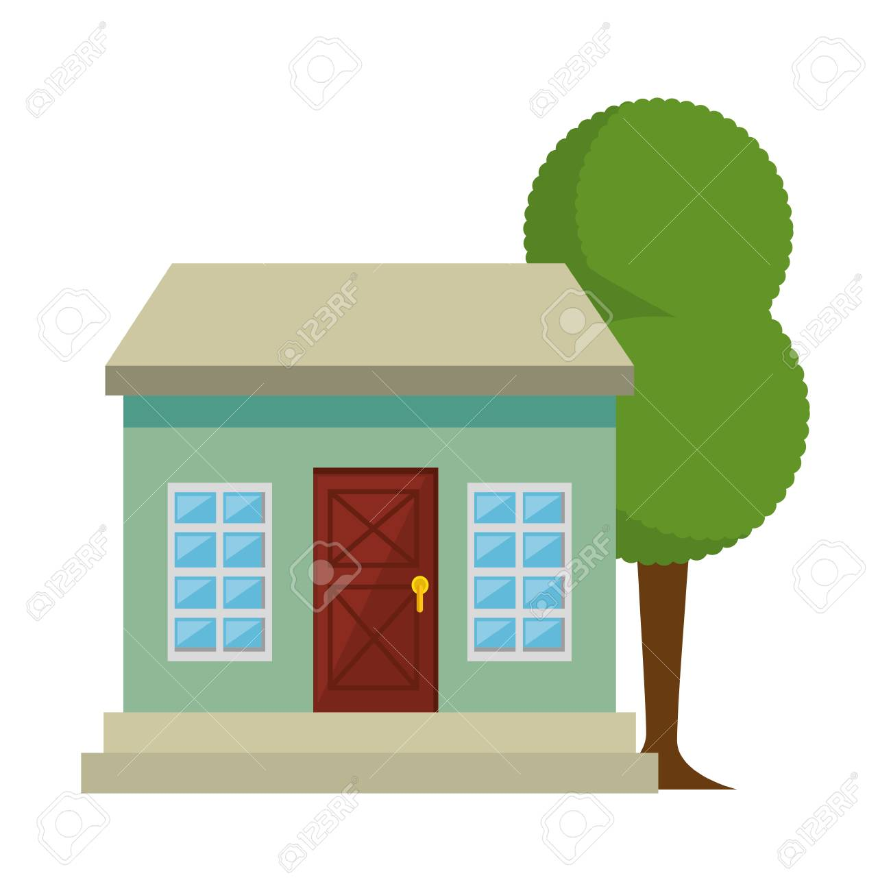 mansion front with tree vector illustration design royalty free rh 123rf com