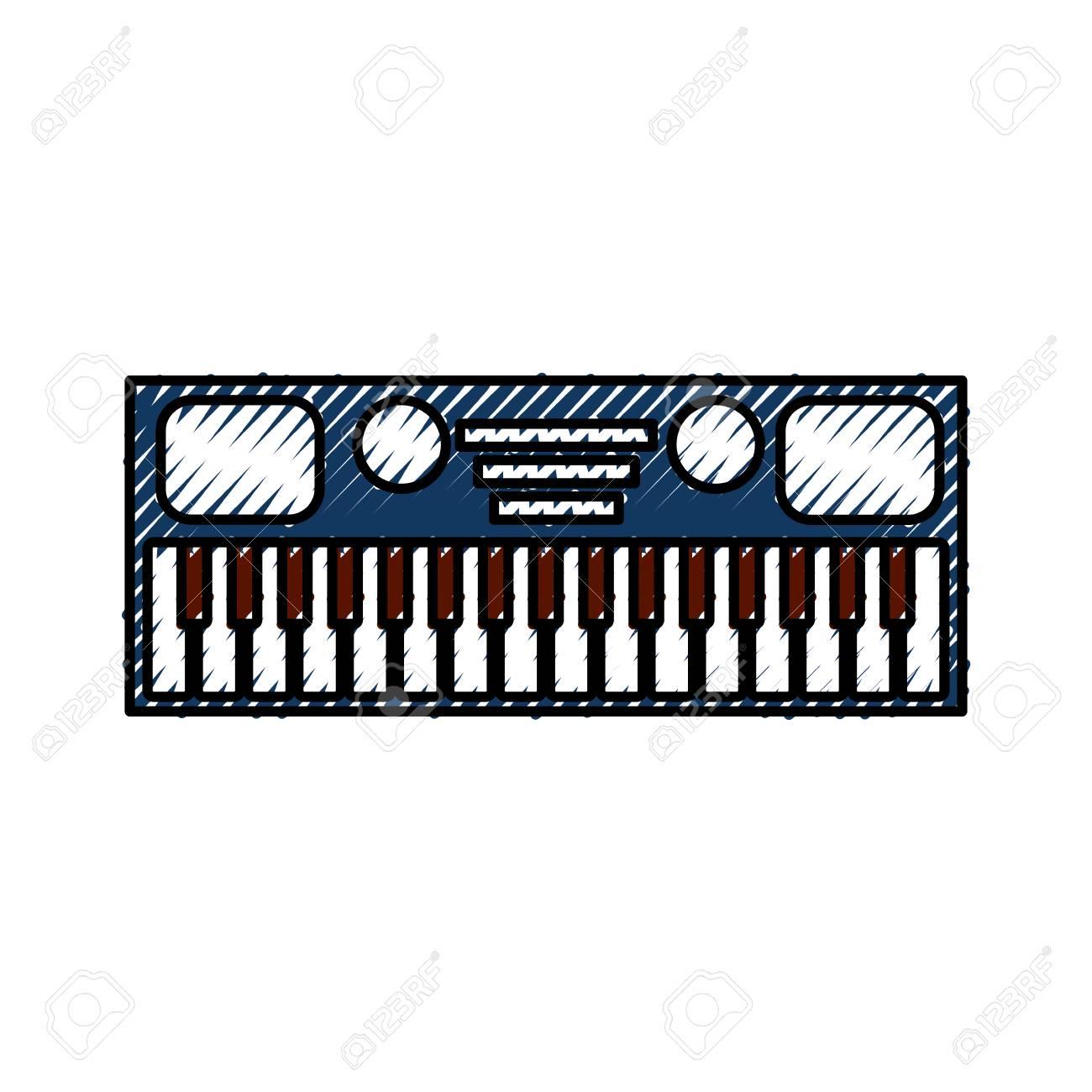 synthesizer electronic instrument keyboard musical on white background vector illustration - 88431403