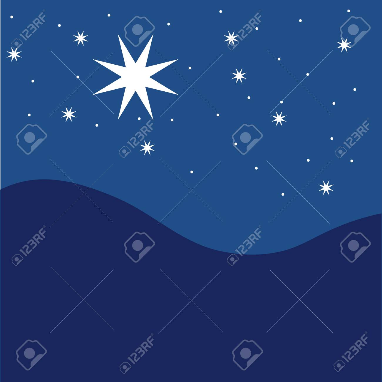 Stars on blue striped background. Festive pattern great for winter or christmas themes. vector file included - 88456508
