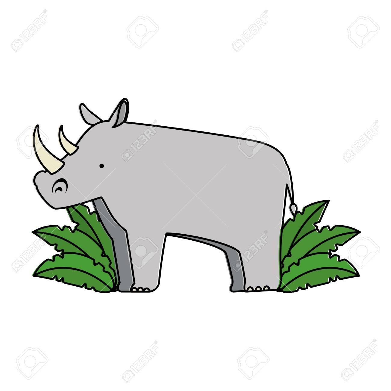 a wild rhinoceros with bush jungle vector illustration design rh 123rf com jungle vector pack jungle vector free download
