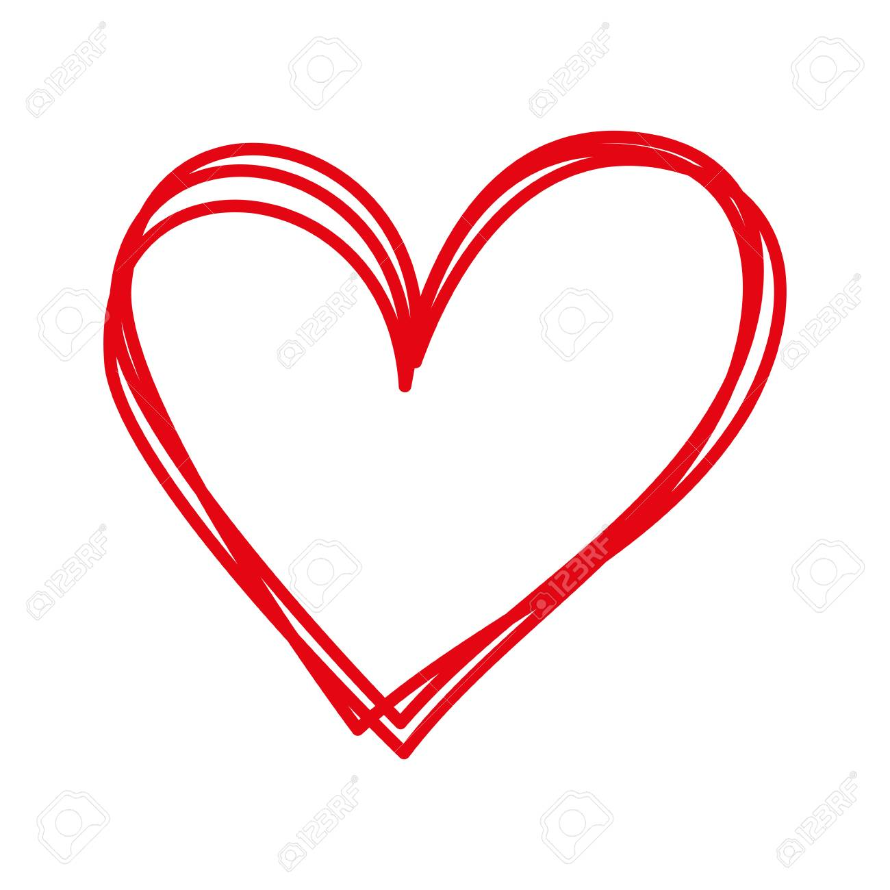 linear cartoon hand drawn heart doodle vector illustration - 88826873