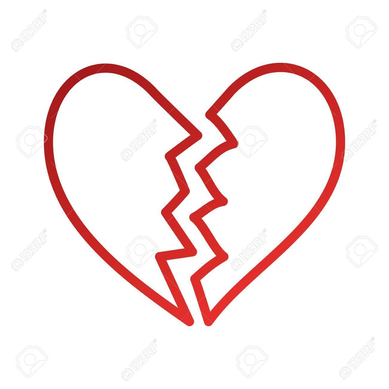 broken heart icon divorce end of love symbol vector illustration - 88828474