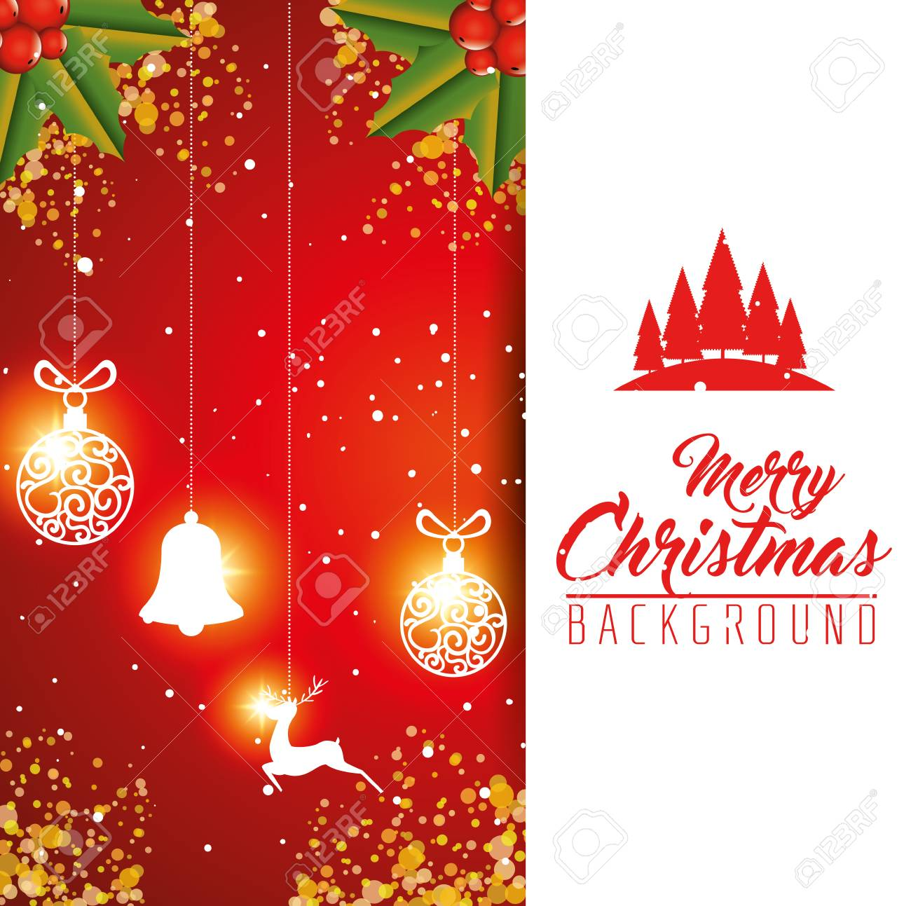 Colorful Christmas Background Design.Colorful And Bright Merry Christmas Background Vector Illustration