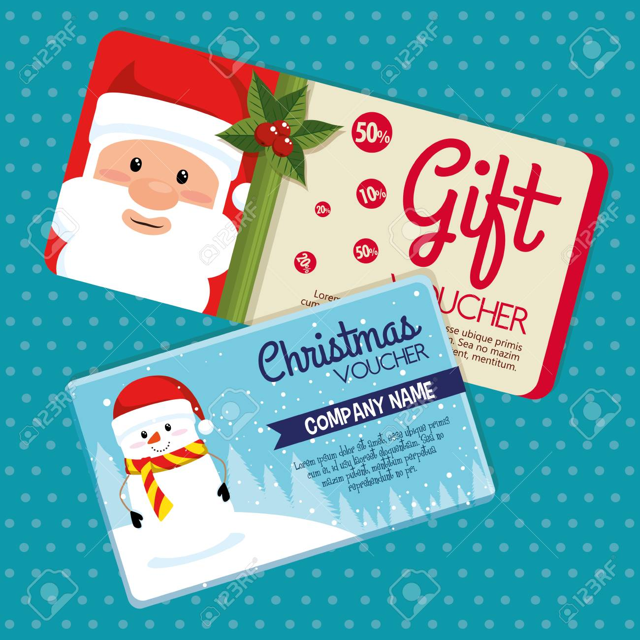 Christmas Gift Voucher Gift Card Vector Illustration Graphic Royalty Free Cliparts Vectors And Stock Illustration Image 89372619