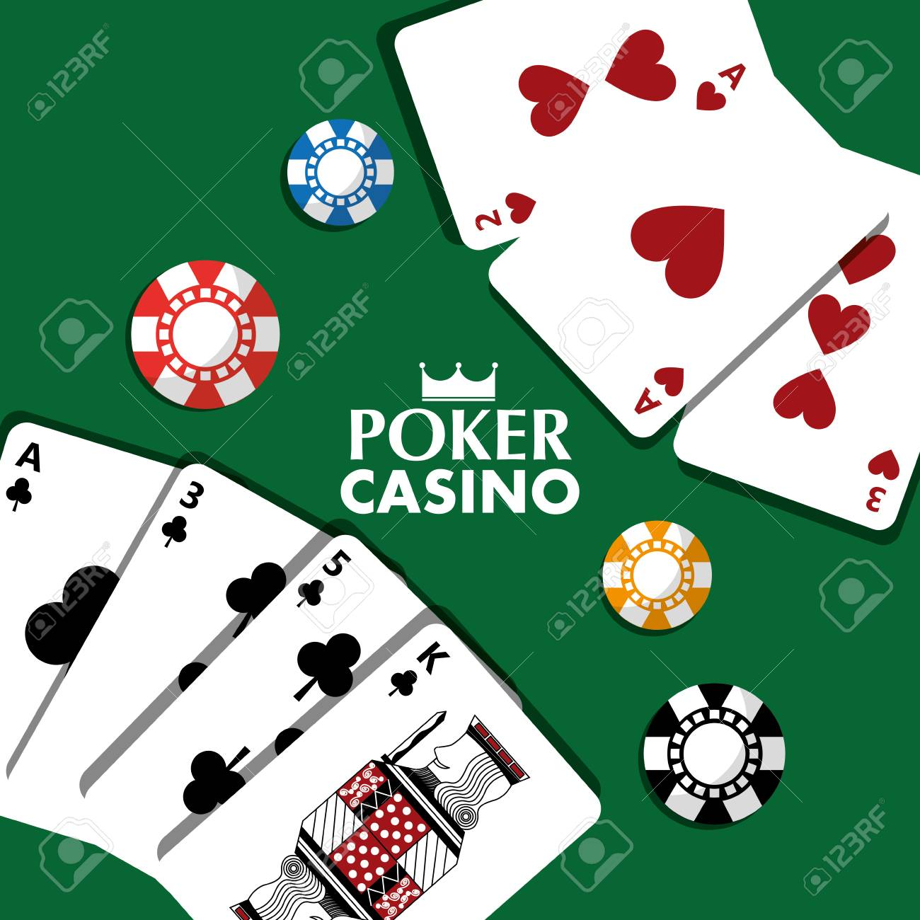 Poker, casino cards and chips vector illustration