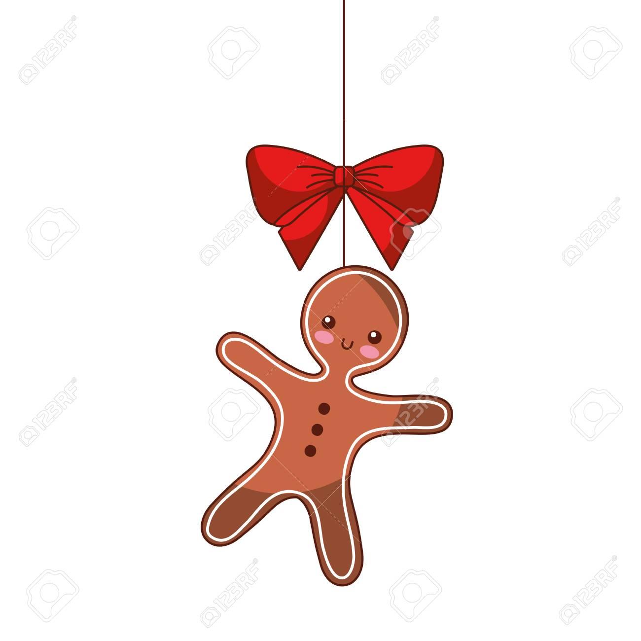 Christmas Gingerbread Man Bow Ornament Hanging Vector Illustration