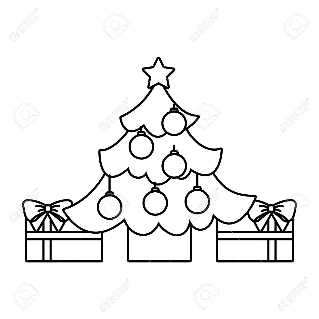 Christmas Tree No Color Design. Royalty Free Cliparts, Vectors, And ...