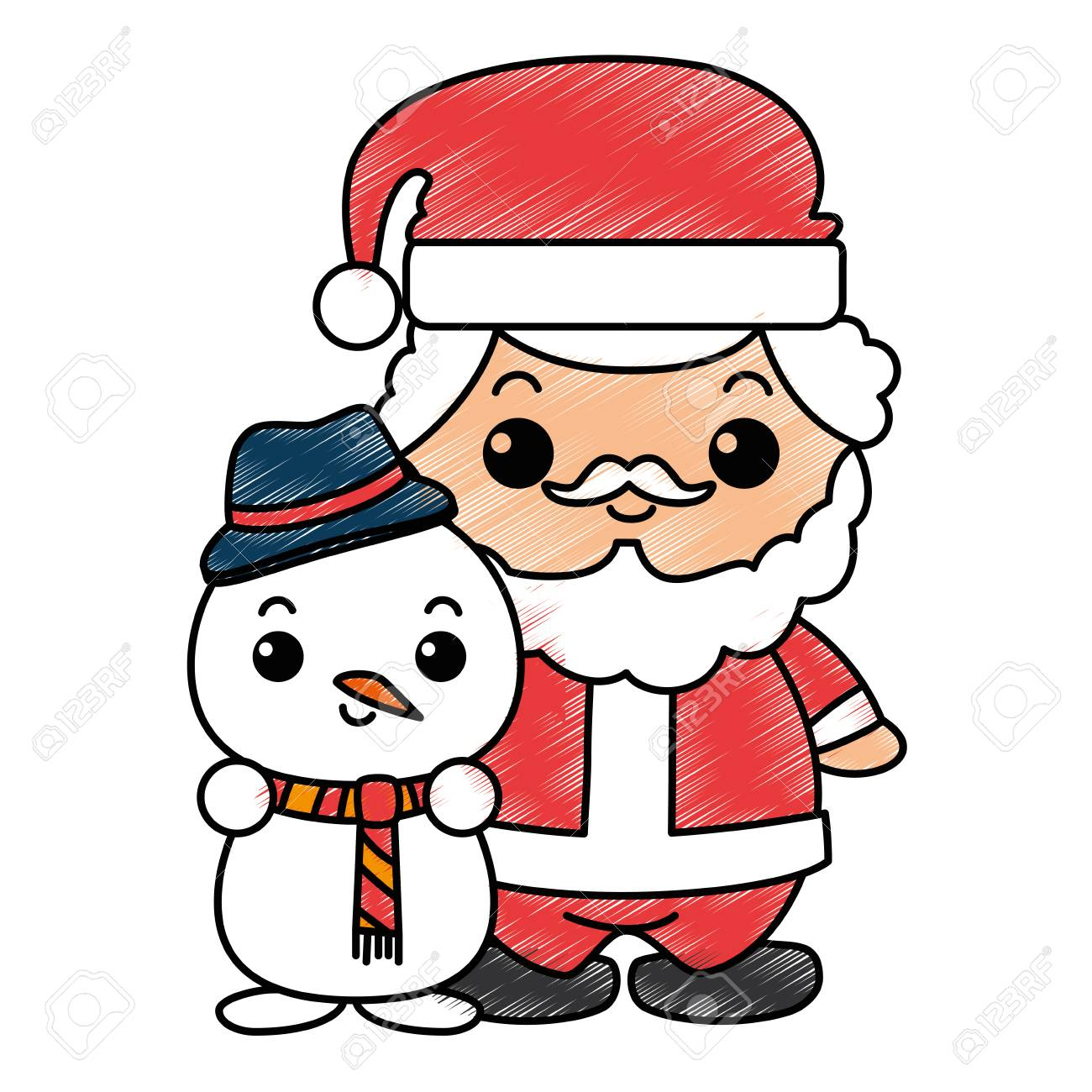 Cute Santa Claus With Snowman Kawaii Characters Vector Illustration Stock Photo Picture And Royalty Free Image Image 89850813
