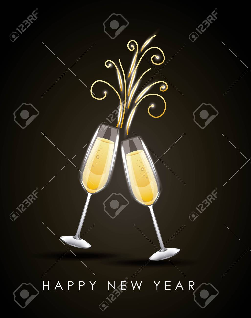 happy new year pair of champagne glass cheers drink celebration vector illustration stock vector 89982323