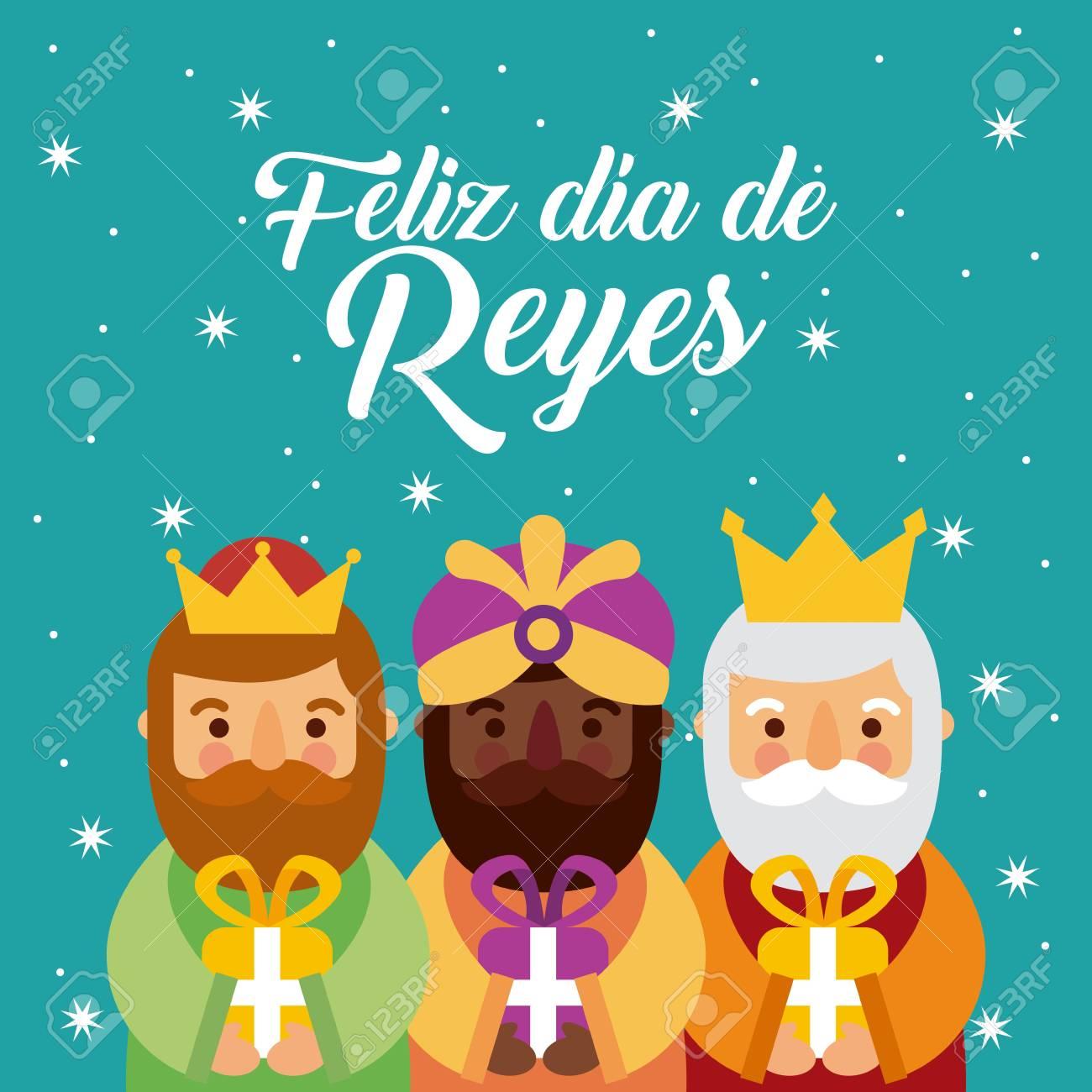 Imagenes Tres Reyes Magos Gratis.Feliz Dia De Los Reyes Tres Reyes Magos Traen Regalos A La Ilustracion De Vector De Jesus