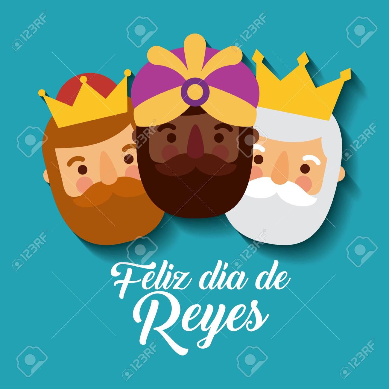 feliz dia de los reyes three magic kings bring presents to jesus vector illustration - 90060208
