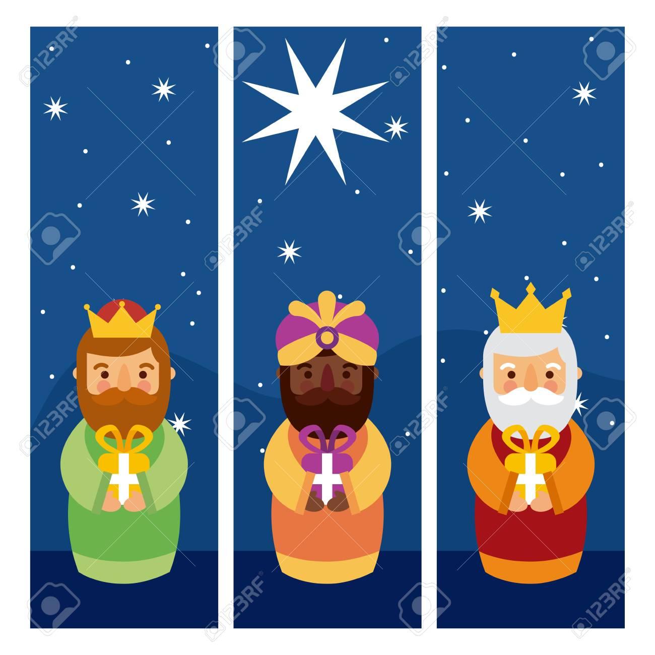Dias De Reyes Magos Descargar feliz dia de los reyes tres reyes magos traen regalos a la ilustración de  vector de jesús