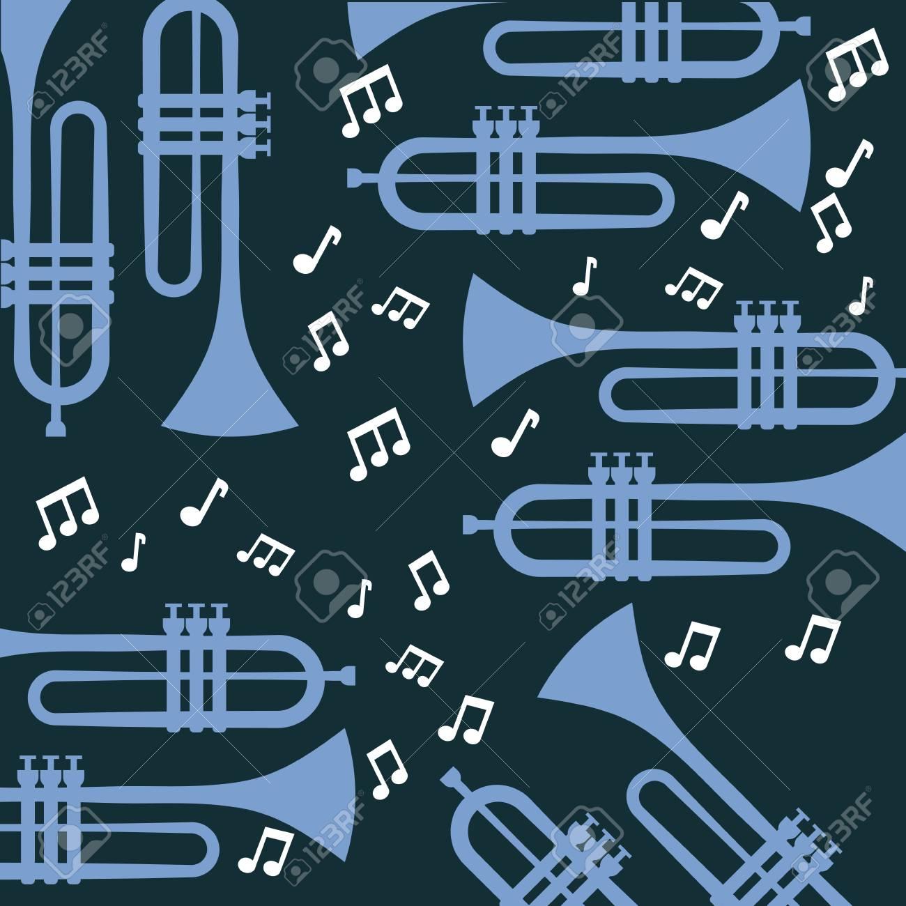 トランペット注音楽ジャズ ポスター壁紙パターン ベクトル イラストのイラスト素材 ベクタ Image