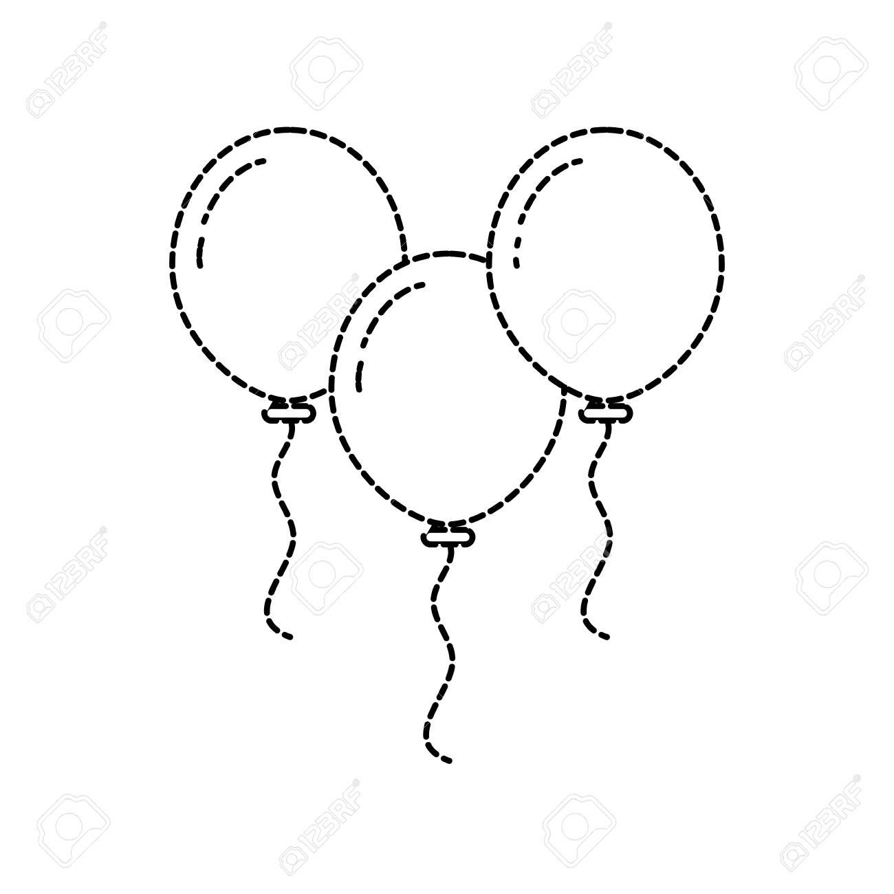 Christmas Three Balloons Flying Decoration Vector Illustration