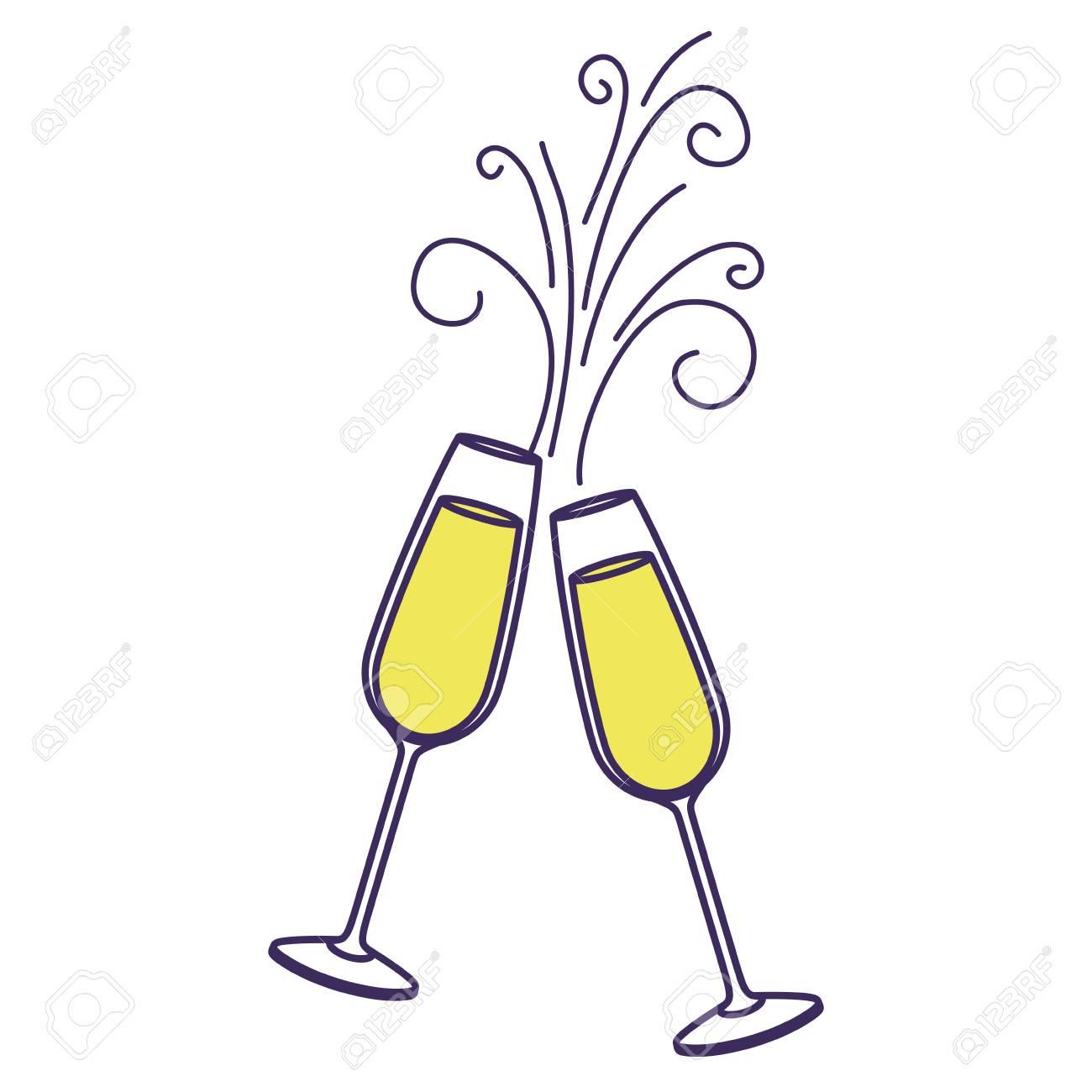 乾杯シャンパン グラスのペアを飲む輝きクリスマス ベクトル イラストの