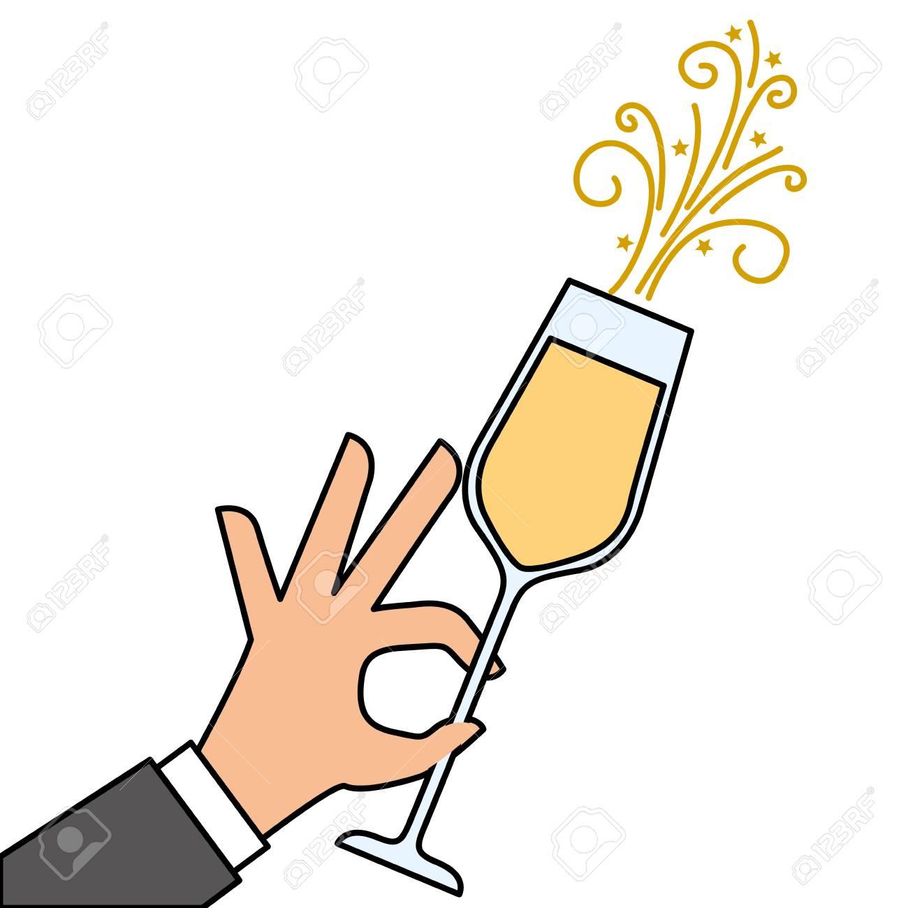 お祝いベクトル イラスト乾杯シャンパン グラスを持っている手しますの