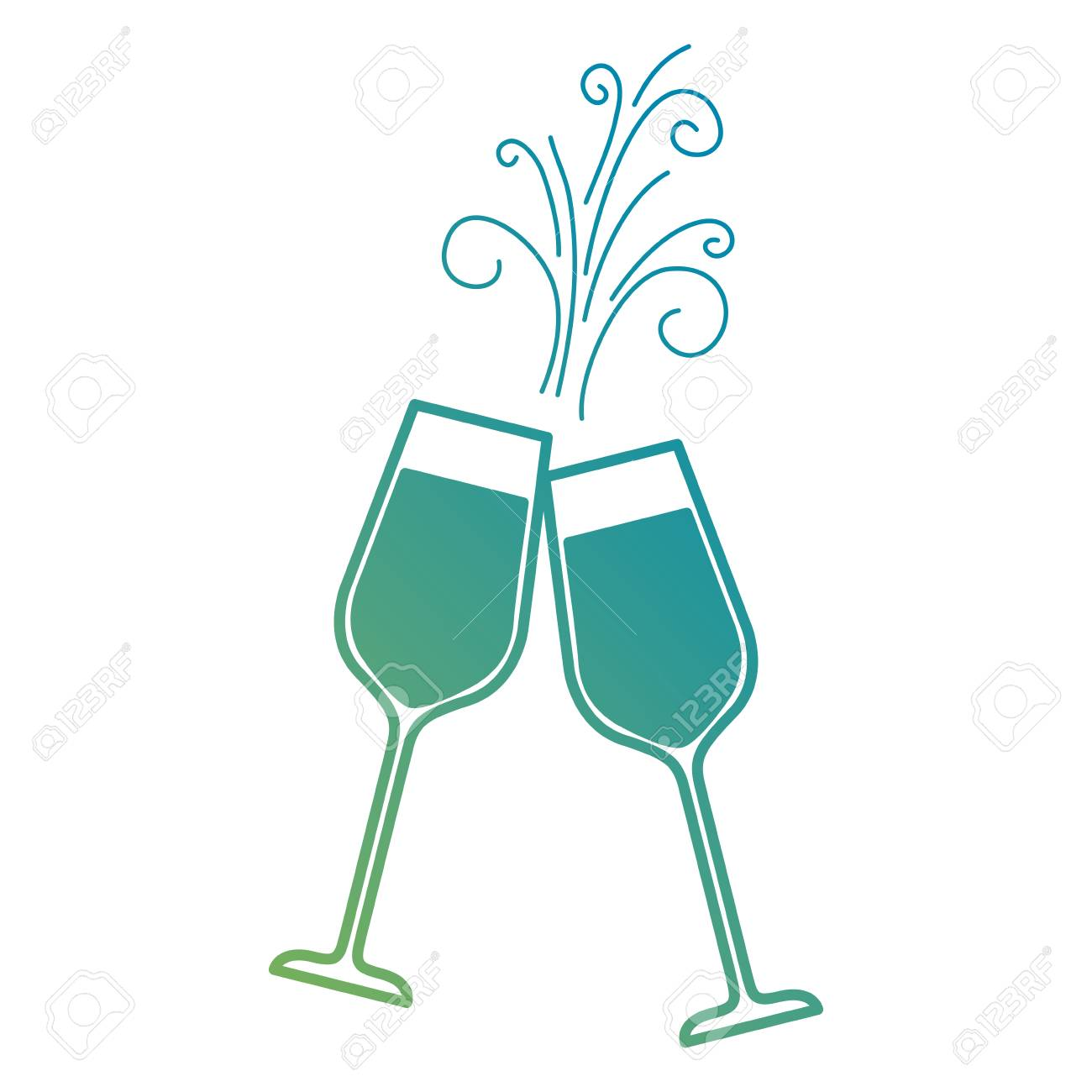c613decd294 pair of champagne glass cheers drink sparkles vector illustration Stock  Vector - 90133173