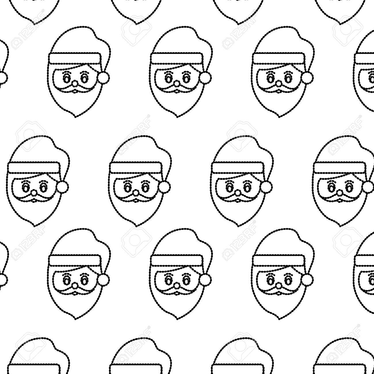 Santa Claus Head Pattern Christmas Related Image Vector Illustration ...