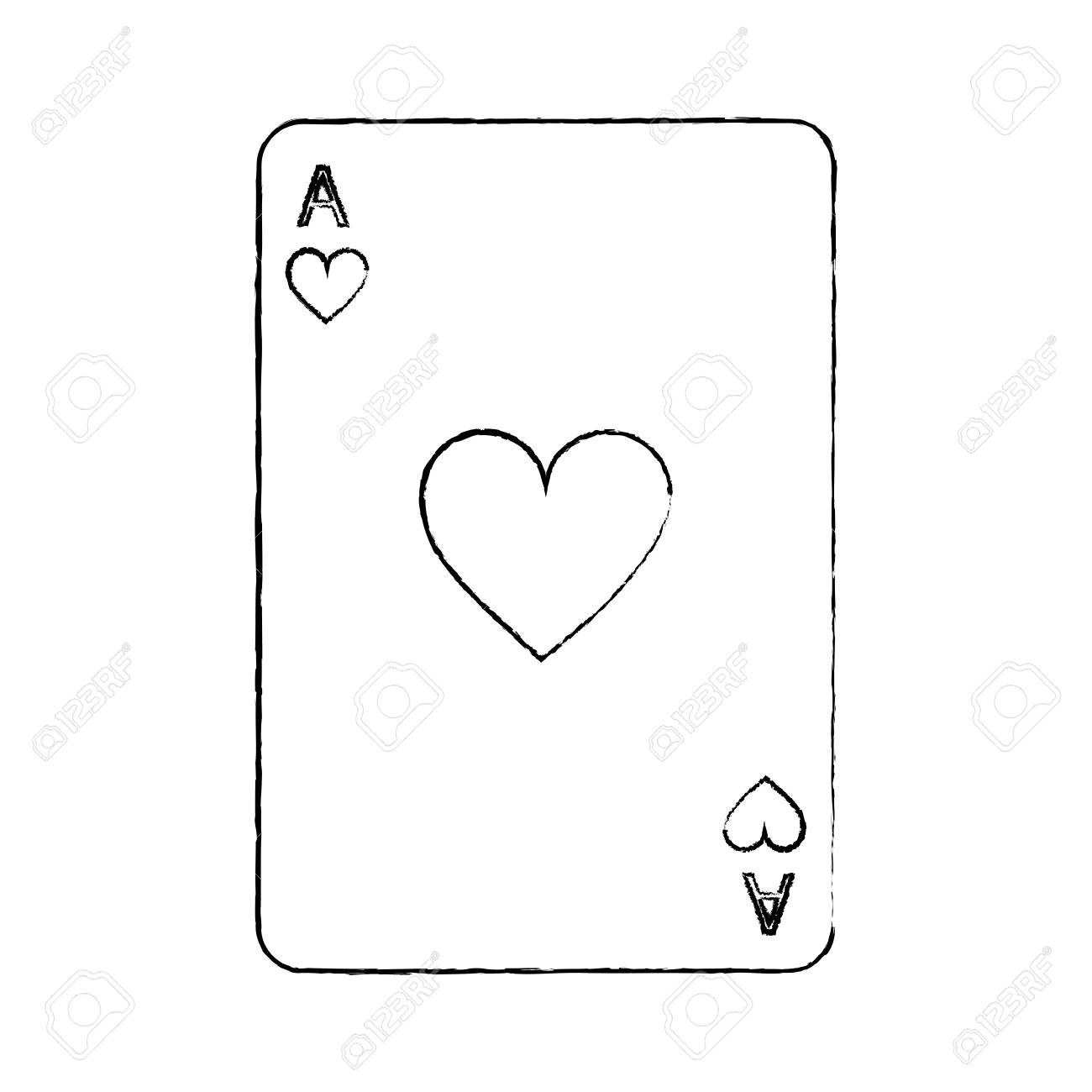 ace of hearts french playing cards related icon image vector illustration design black sketch line - 90169630