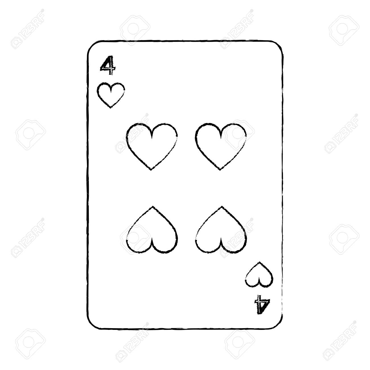 four of hearts french playing cards related icon image vector illustration design black sketch line - 90169633